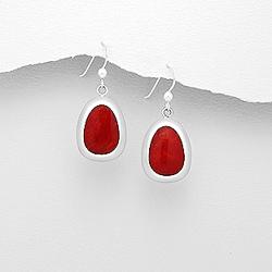 Boucles d'Oreilles en Argent et Corail Rouge