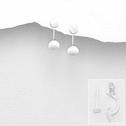 Boucles d'Oreilles Design en Argent Brossé