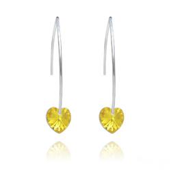 Boucles d'Oreilles Coeur 10mm en Argent et Cristal Light Topaz AB