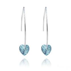 Boucles d'Oreilles Coeur 10mm en Argent et Cristal Bleu Aurore Boréale