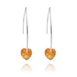 Boucles d'Oreilles Coeur 10mm en Argent et Cristal Topaz AB