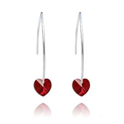 Boucles d'Oreilles Coeur 10mm en Argent et Cristal Rouge Siam AB