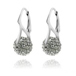 Boucles d'Oreilles en Argent et Disco Ball 10mm Black Diamond