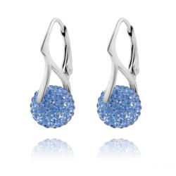 Boucles d'Oreilles en Argent et Disco Ball 10mm Light Sapphire