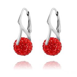 Boucles d'Oreilles en Argent et Disco Ball 10mm Rouge Light Siam