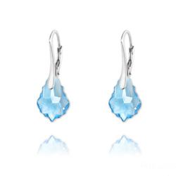 Boucles d'Oreilles Mini Baroque 16mm en Argent et Cristal Bleu