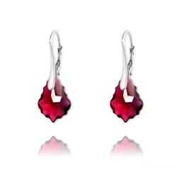 Boucles d'Oreilles Mini Baroque 16mm en Argent et Cristal Ruby