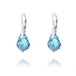 Boucles d'Oreilles Mini Baroque 16mm en Argent et Cristal Bleu Aurore Boréale