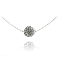 Collier Ras de Cou Disco Ball 10MM en Argent et Cristal Black Diamond