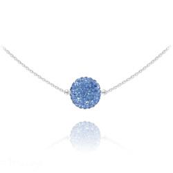 Collier Ras de Cou Disco Ball 10MM en Argent et Cristal Light Sapphire