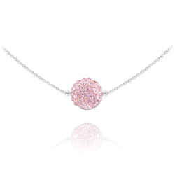 Collier Ras de Cou Disco Ball 10MM en Argent et Cristal Light Rose