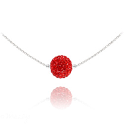 Collier Ras de Cou Disco Ball 10MM en Argent et Cristal Rouge Light Siam