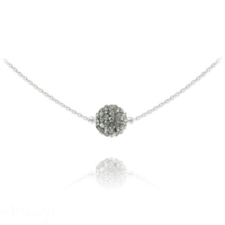 Collier Ras de Cou Disco Ball 8MM en Argent et Cristal Black Diamond