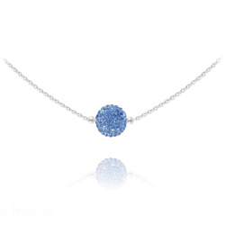 Collier Ras de Cou Disco Ball 8MM en Argent et Cristal Light Sapphire