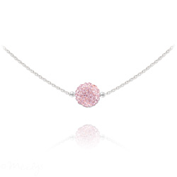 Collier Ras de Cou Disco Ball 8MM en Argent et Cristal Light Rose