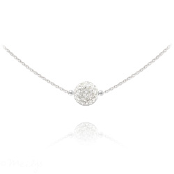 Collier Ras de Cou Disco Ball 8MM en Argent et Cristal Blanc
