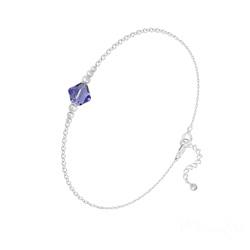 Bracelet en Cristal et Argent Bracelet Bicone Bead en Argent et Cristal Tanzanite