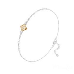 Bracelet Bicone Bead en Argent et Cristal Champagne