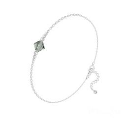 Bracelet Bicone Bead en Argent et Cristal Black Diamond