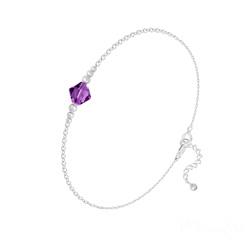 Bracelet en Cristal et Argent Bracelet Bicone Bead en Argent et Cristal Améthyste