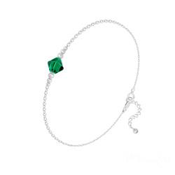 Bracelet Bicone Bead en Argent et Cristal Emeraude