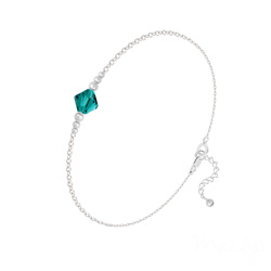 Bracelet en Cristal et Argent Bracelet Bicone Bead en Argent et Cristal Bleu Zircon