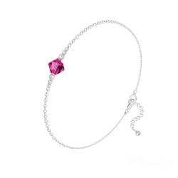 Bracelet Bicone Bead en Argent et Cristal Fuchsia