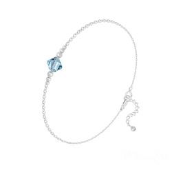 Bracelet Bicone Bead en Argent et Cristal Bleu