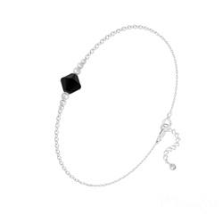 Bracelet Bicone Bead en Argent et Cristal Jet (Noir)