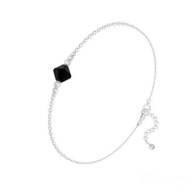 Bracelet en Cristal et Argent Bracelet Bicone Bead en Argent et Cristal Jet (Noir)