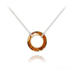 Collier en Cristal et Argent Collier Cosmic Ring 20MM en Argent et Cristal Copper