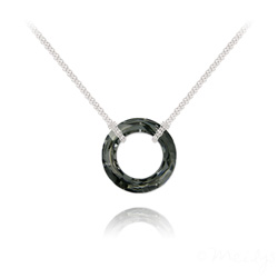 Collier Cosmic Ring 20MM en Argent et Cristal Silver Night (Dorado)
