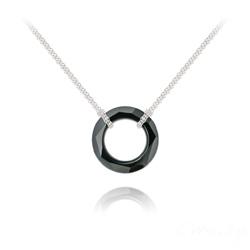 Collier Cosmic Ring 20MM en Argent et Cristal Jet (Noir)