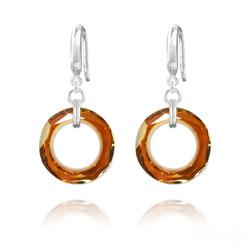 Boucles d'Oreilles en Cristal et Argent Boucles d'Oreilles Cosmic Ring 20MM en Argent et Cristal Copper