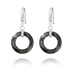 Boucles d'Oreilles en Cristal et Argent Boucles d'Oreilles Cosmic Ring 20MM en Argent et Cristal Silver Night (Dorado)