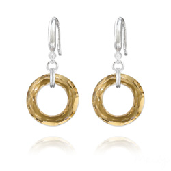 Boucles d'Oreilles en Cristal et Argent Boucles d'Oreilles Cosmic Ring 20MM en Argent et Cristal Champagne