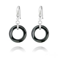 Boucles d'Oreilles en Cristal et Argent Boucles d'Oreilles Cosmic Ring 20MM en Argent et Cristal Jet (Noir)
