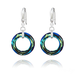 Boucles d'Oreilles Cosmic Ring 20MM en Argent et Cristal Bleu Bermude