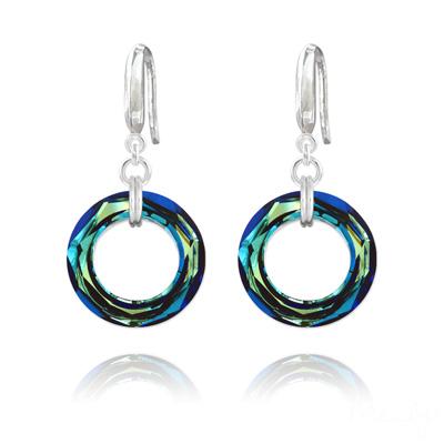 Boucles d'Oreilles en Cristal et Argent Boucles d'Oreilles Cosmic Ring 20MM en Argent et Cristal Bleu Bermude