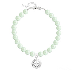 Bracelet Trèfle 4 Coeurs en Argent et Perle de Cristal Nacrée Pastel Green