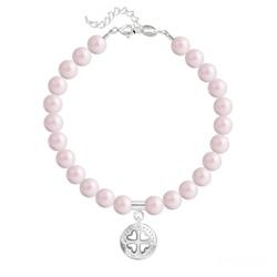 Bracelet en Cristal et Argent Bracelet Trèfle 4 Coeurs en Argent et Perle de Cristal Nacrée Pastel Rose
