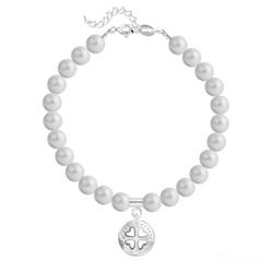 Bracelet en Cristal et Argent Bracelet Trèfle 4 Coeurs en Argent et Perle de Cristal Nacrée Pastel Grey