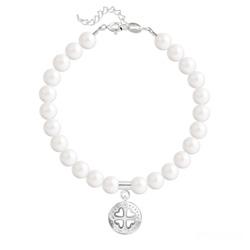 Bracelet Trèfle 4 Coeurs en Argent et Perle de Cristal Nacrée Ivory