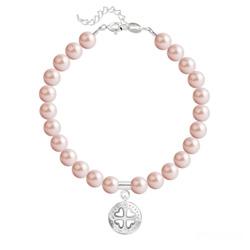 Bracelet Trèfle 4 Coeurs en Argent et Perle de Cristal Nacrée Rose Peach