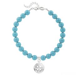 Bracelet Trèfle 4 Coeurs en Argent et Perle de Cristal Nacrée Turquoise