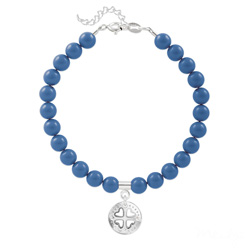 Bracelet Trèfle 4 Coeurs en Argent et Perle de Cristal Nacrée Lapis