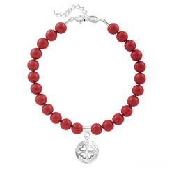 Bracelet Trèfle 4 Coeurs en Argent et Perle de Cristal Nacrée Red Coral