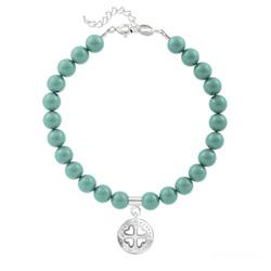 Bracelet Trèfle 4 Coeurs en Argent et Perle de Cristal Nacrée Jade