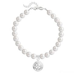 Bracelet Trèfle 4 Coeurs en Argent et Perle de Cristal Nacrée White Pearl