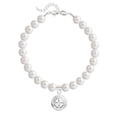 Bracelet en Cristal et Argent Bracelet Trèfle 4 Coeurs en Argent et Perle de Cristal Nacrée White Pearl